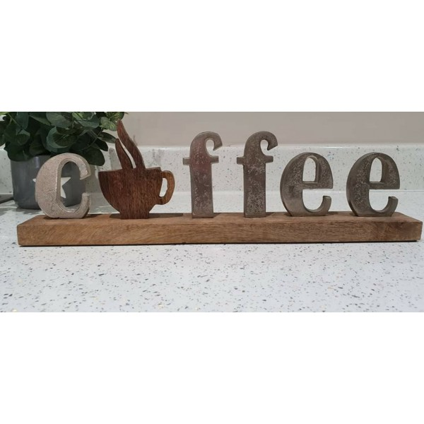 Coffee Plaque on Wooden Base