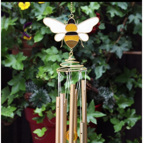 Bee and Honeycomb Spiral Windchime