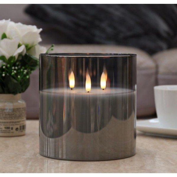 Grey 3 Wick Real Life LED Candle