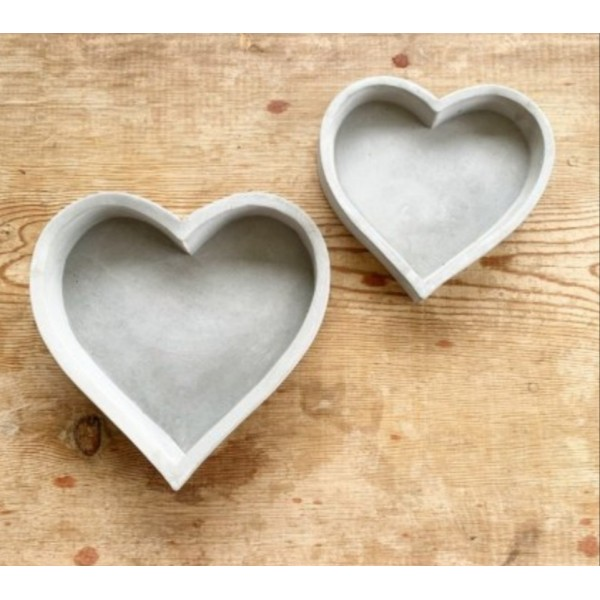 Grey Luxe Heart Trays - Set Of Two