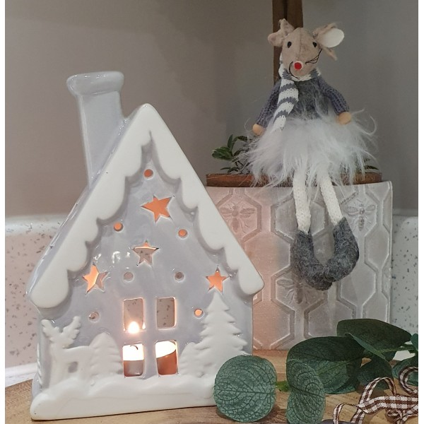 Grey Snow Topped Tealight Holder